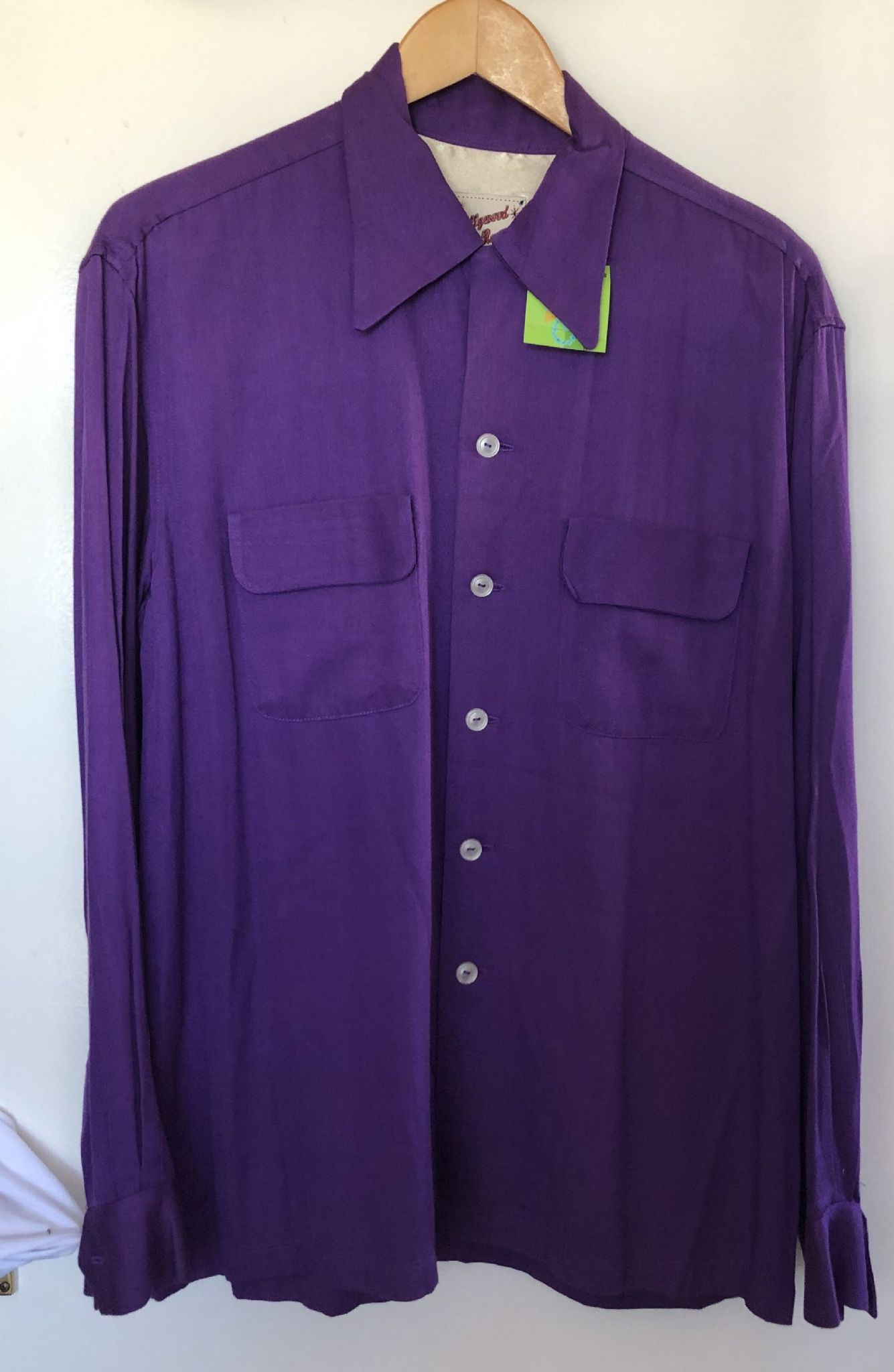 Available in X large 1950s vintage reproduction Hollywood Rogue purple rayon gabardine shirt